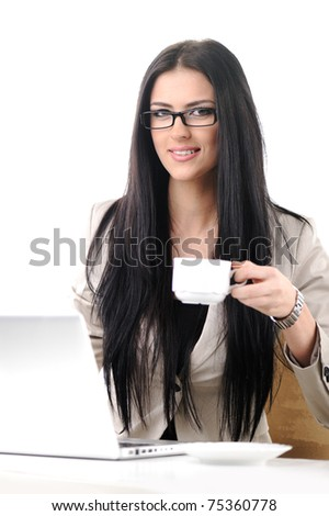 Pretty office female worker have coffee break, isolated on white - stock photo