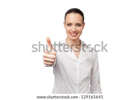 Pretty office woman on white background showing thumb up - stock photo