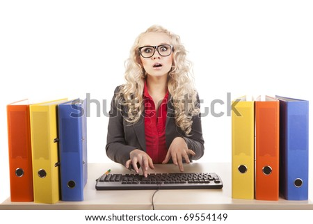 Pretty office worker - stock photo