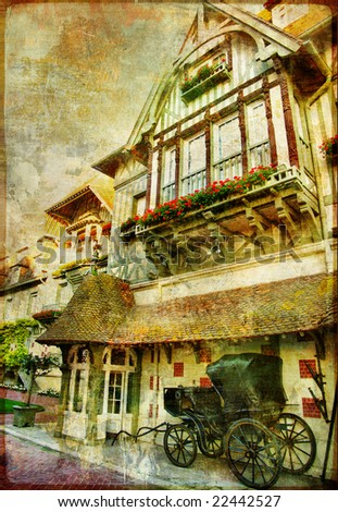 pretty old  towns of Normandy - picture in retro style