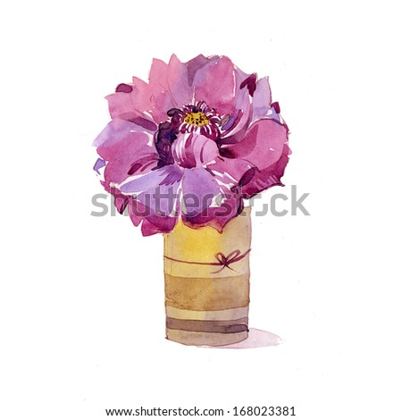 Pretty painted flower card - stock photo