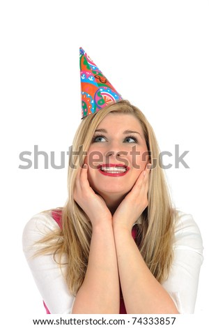 Pretty party female celebrating birthsday and making a wish. isolated - stock photo