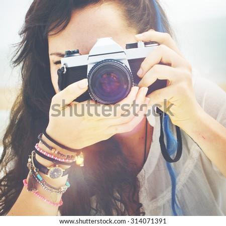 Pretty Photographer Woman Beach Vacation Lifestyle Concept - stock photo