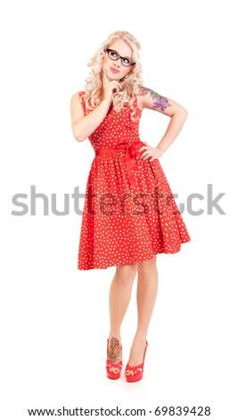 Pretty pin-up girl - stock photo
