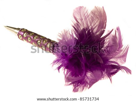pretty pink and purple pen isolated on a white background - stock photo