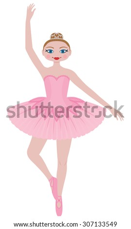 Pretty Pink Ballerina in a Pink Tutu Wearing a Tiara. She Poses  en Pointe.
