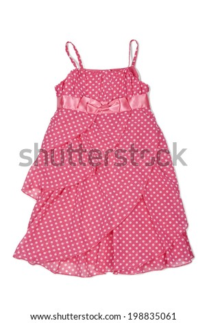 Pretty pink summer dress with dots isolated on a white background. Clipping path included. - stock photo