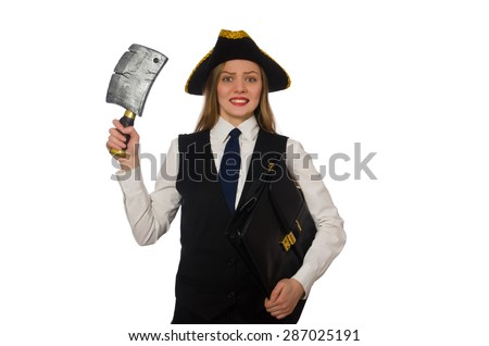 Pretty pirate girl holding case and chopper isolated on white
