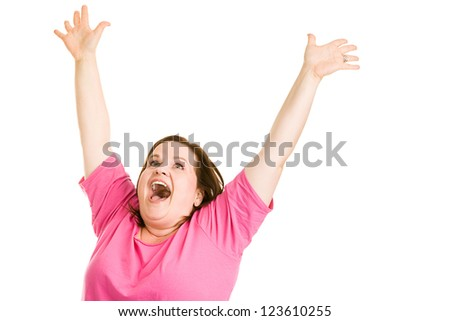 Pretty plus sized woman raising her arms in ecstasy.  Isolated on white.