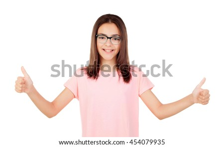 Pretty preteenager girl with glasses saying Ok isolated on a white background - stock photo