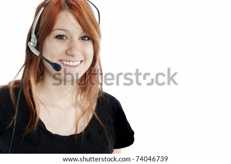 Pretty red-head receptionist with headset isolated on white
