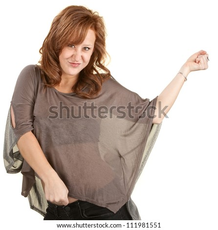 Pretty red head woman dancing over white background - stock photo