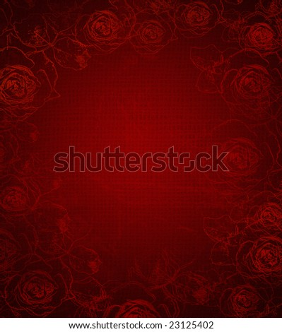 pretty red rose stamped grunge background