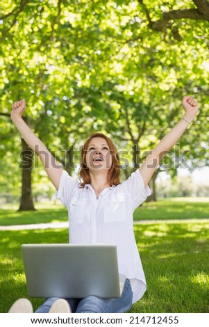 Pretty redhead using her laptop in the park and cheering on a sunny day