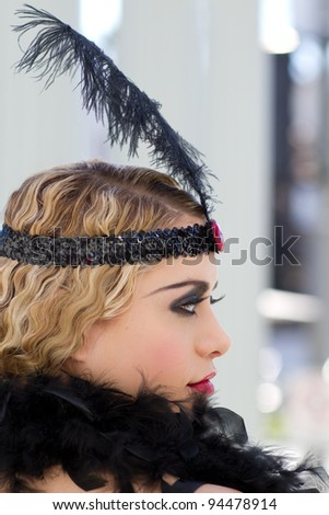 Pretty Retro Woman Flapper Styleb8 - stock photo