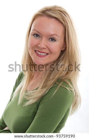 Pretty 20s danish caucasian smiling woman