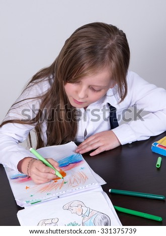 pretty school girl portrait closeup - stock photo