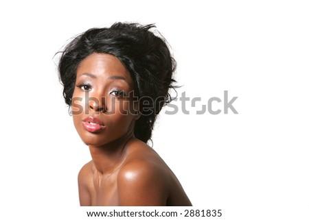 Pretty sexy black woman portrait - stock photo