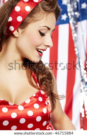 pretty sexy pin up in red dress - stock photo