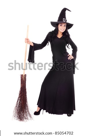 pretty sexy young brunette witch with a broom, isolated against white background - stock photo