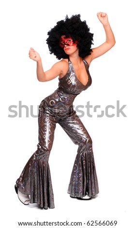 Pretty showgirl with red mask and afro hair-style dressed in luxury retro costume. - stock photo