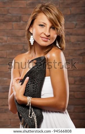 pretty shy girl - stock photo