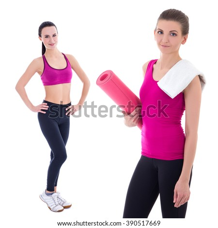 pretty slim women with yoga mat isolated on white background