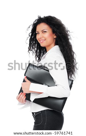 pretty smiley woman holding black briefcase. isolated on white background - stock photo