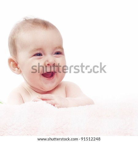Pretty smiling baby with white background