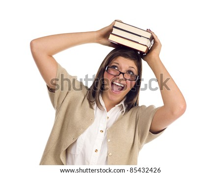 Pretty Smiling Ethnic Female Student Holding Books On Her Head Isolated on a White Background. - stock photo