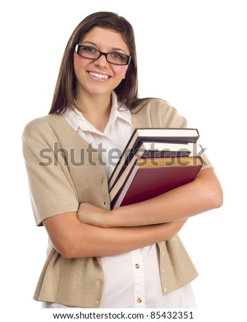 Pretty Smiling Ethnic Female Student Holding Books Portrait Isolated on a White Background. - stock photo
