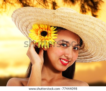 Pretty Smiling Girl In A Hat At Sunset In The Countryside - stock photo