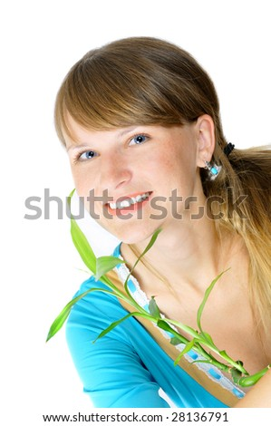 Pretty smiling girl with a bamboo, isolated on white - stock photo