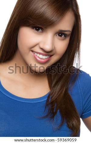 Pretty smiling hispanic girl headshot - stock photo