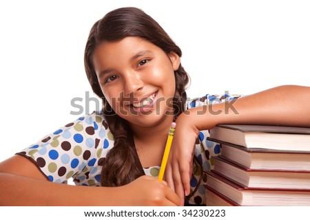 Pretty Smiling Hispanic Girl Studying Isolated on a White Background. - stock photo