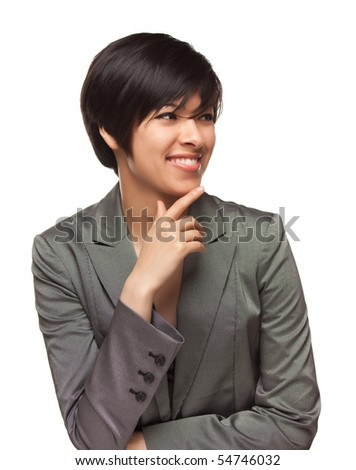 Pretty Smiling Multiethnic Young Adult Woman Looking to the Side Isolated on a White Background. - stock photo