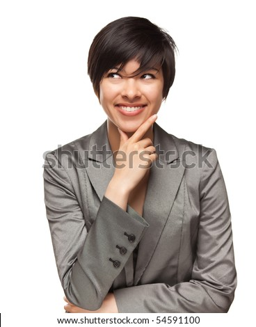Pretty Smiling Multiethnic Young Adult Woman with Eyes Up and Over Isolated on a White Background. - stock photo