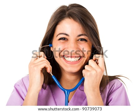 Pretty smiling nurse using a stethoscope - stock photo