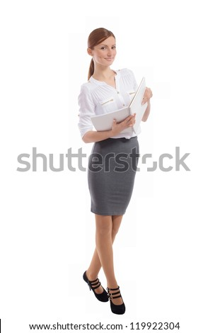 Pretty smiling office lady with open notebook in her hands, on white background