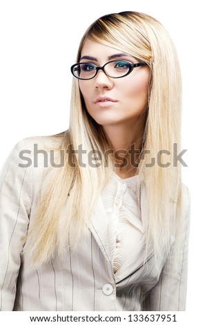 Pretty smiling woman in glasses over white. Business woman