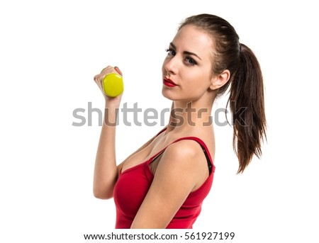 Pretty sport woman making weightlifting
