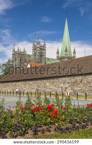 Pretty Sqaure and Trondheim Cathedral in Norway on a sunny day - stock photo