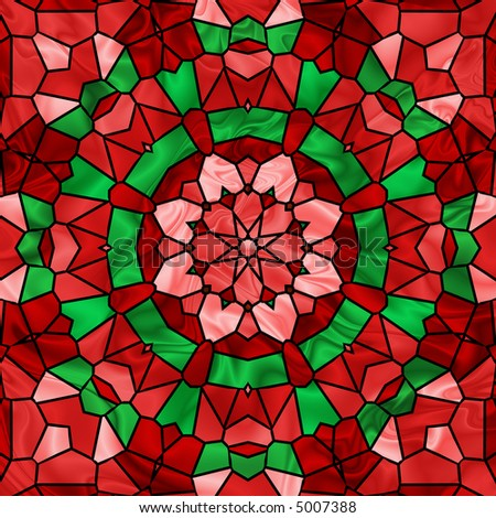 Pretty stained glass image in bright christmas colors of red and green.
