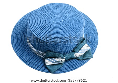 Pretty straw blue hat on white background