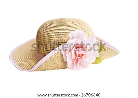 Pretty straw hat with flower on white background - stock photo