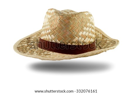 Pretty straw hat with ribbon white background