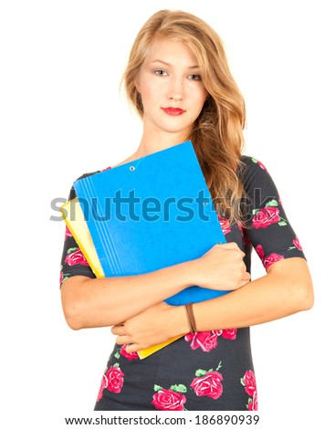 pretty student girl standing with book, white background - stock photo