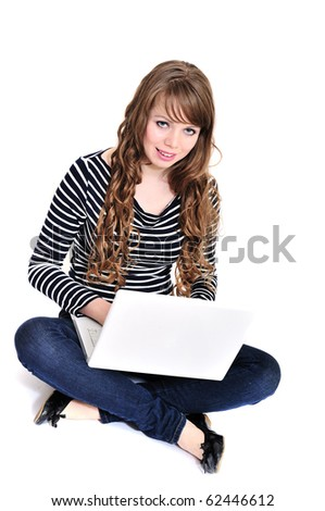 pretty student girl with laptop over the white - stock photo