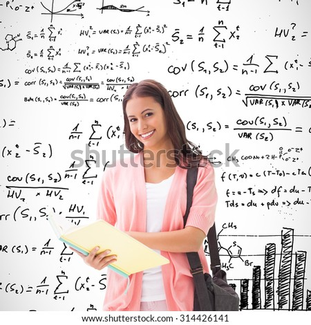 Pretty student smiling at camera against maths equations