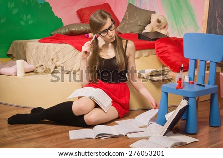 Pretty student study chemistry in a room - stock photo